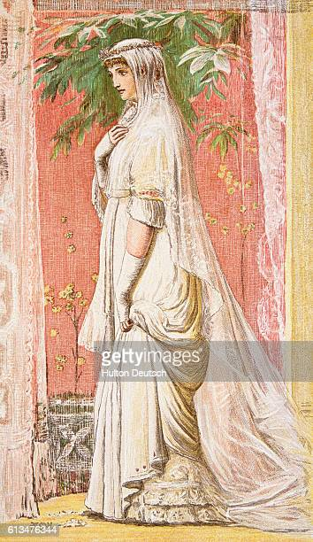An illustration of a late 19th century bridal gown and headdress