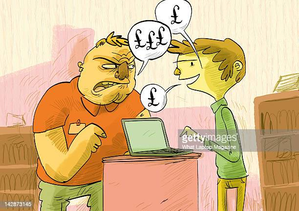 An illustration of a man arguing with a salesman used for an article on buying a bargain laptop July 13 2011