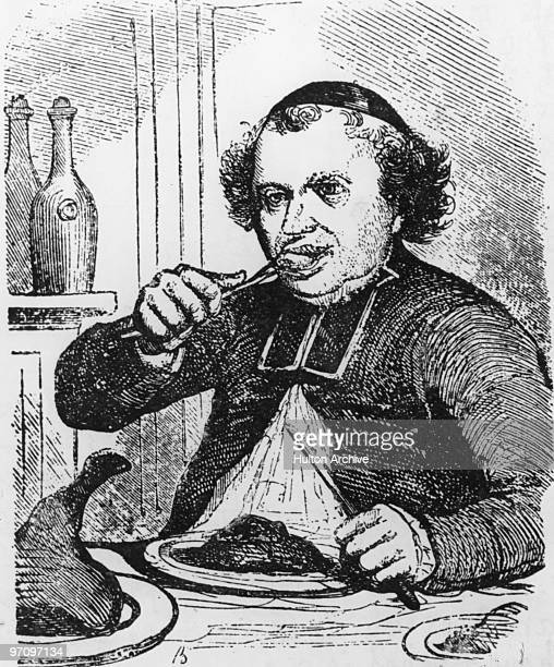 An illustration of a man eating a meal from 'Physiologie Du Gout' by French gastronome Jean Anthelme BrillatSavarin circa 1825