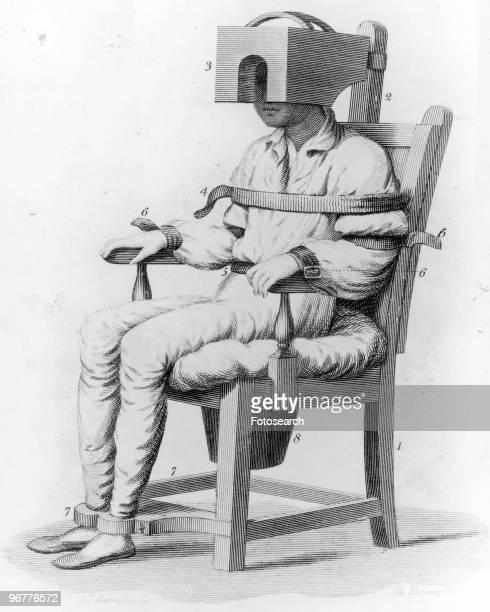 An Illustration of a Patient sitting in a Tranquillising Chair a device developed by B Rush circa 1810