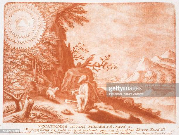 An illustration of a scene from Exodus Chapter 3 in the Bible in which Moses sees a burning bush while tending the flocks of his father in law Jethro...