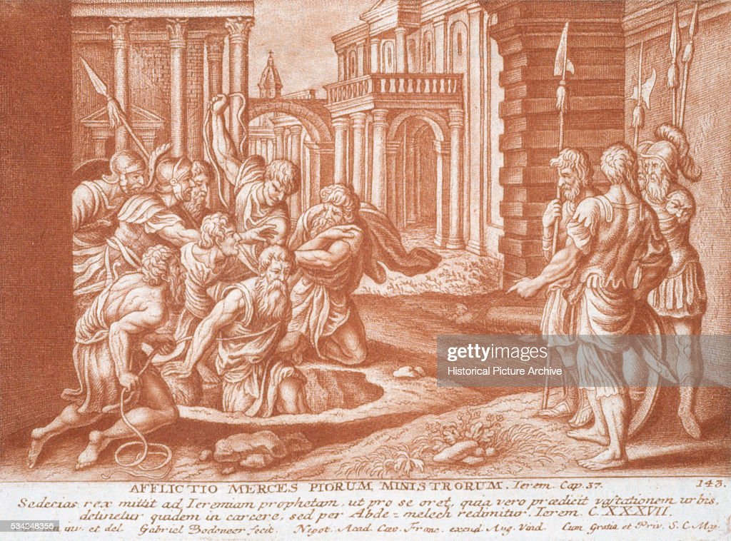 An illustration of a scene from Jeremiah Chapter 37 in the Bible in which the prophet Jeremiah is put in a vaulted cell in a dungeon because he is...