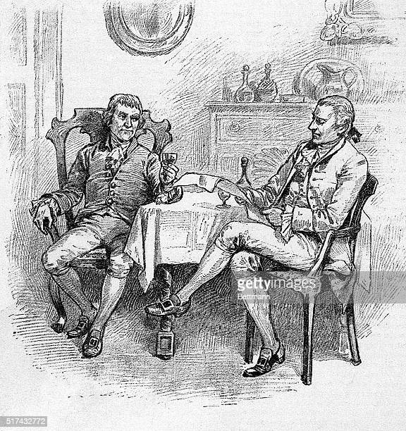 An illustration of a seated Thomas Jefferson and James Madison discuss the site of the future capital Undated illustration