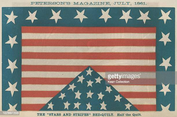 An illustration of a 'Stars and Stripes' Bed quilt showing the influence of the civil war on household articles from Peterson's magazine circa July...