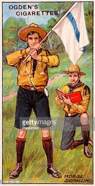 An illustration of Boy Scouts practising Morse code signalling featured on a vintage cigarette card produced circa 1912