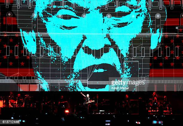 An illustration of Donald Trump appears on the screen during Roger Waters performance at Desert Trip at The Empire Polo Club on October 9 2016 in...