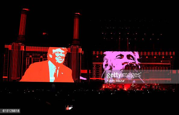 An illustration of Donald Trump appears on the screen during Roger Waters performance at Desert Trip at The Empire Polo Club on October 16 2016 in...