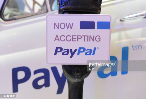 An illustration of online payment service PayPal at LeWeb Paris 2012 in SaintDenis near Paris on December 5 2012 AFP PHOTO ERIC PIERMONT