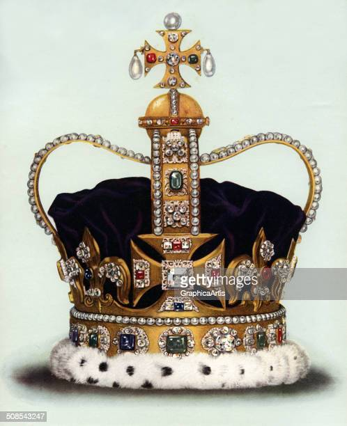 An illustration of St Edwards Crown from the Crown Jewels 1919