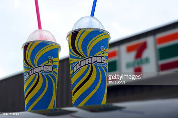 An illustration of Two 7Eleven Slurpees on October 27 2010 in Washington DC Global convenience store chain 7Eleven has been getting some free...