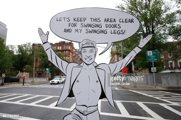 An illustration placed along Massachusetts Avenue in Boston between the bike lane and the area where cars park is pictured on May 22 2017