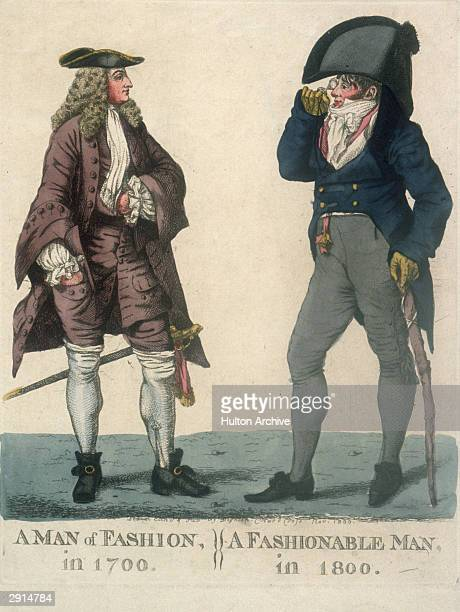 An illustration published in November 1800 comparing men's fashions from 1700 and 1800