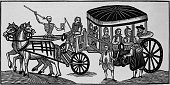 An illustration showing Londoners fleeing the country because of the plague Printed 1630