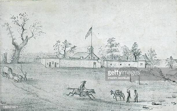 An illustration showing Sutter's Fort Coloma CA as it was in 1848 On January 24 10 days before the Treaty of GuadalupeHidalgo was signed gold was...