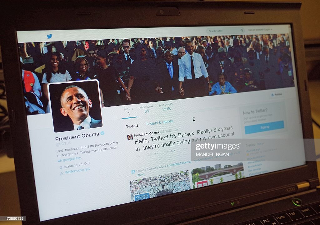 An illustration shows US President Barack Obama's Twitter page on a laptop in Washington DC on May 18 2015 'Hello Twitter It's Barack Really Six...