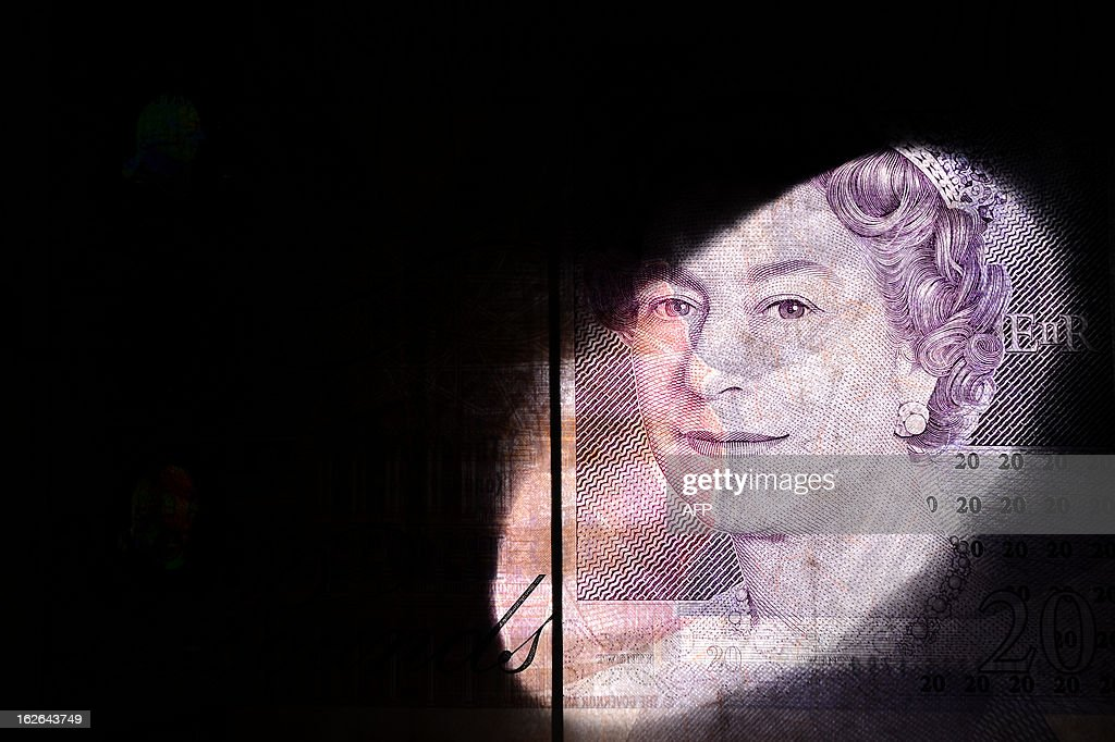 An illustrative picture backlit using a snoot on a flashgun and taken in London on February 25, 2013 shows a British 20 pound bank note. Moody's stripped Britain of its triple-A debt rating after markets closed on February 22, 2013, saying government debt was still mounting and that growth was too weak to reverse the trend before 2016 -- heaping more pressure on the pound. After hitting a fresh low-point on February 22, the pound recovered in trading in London to reach 1.5143 USD on February 25, compared with 1.5162 USD on February 22.