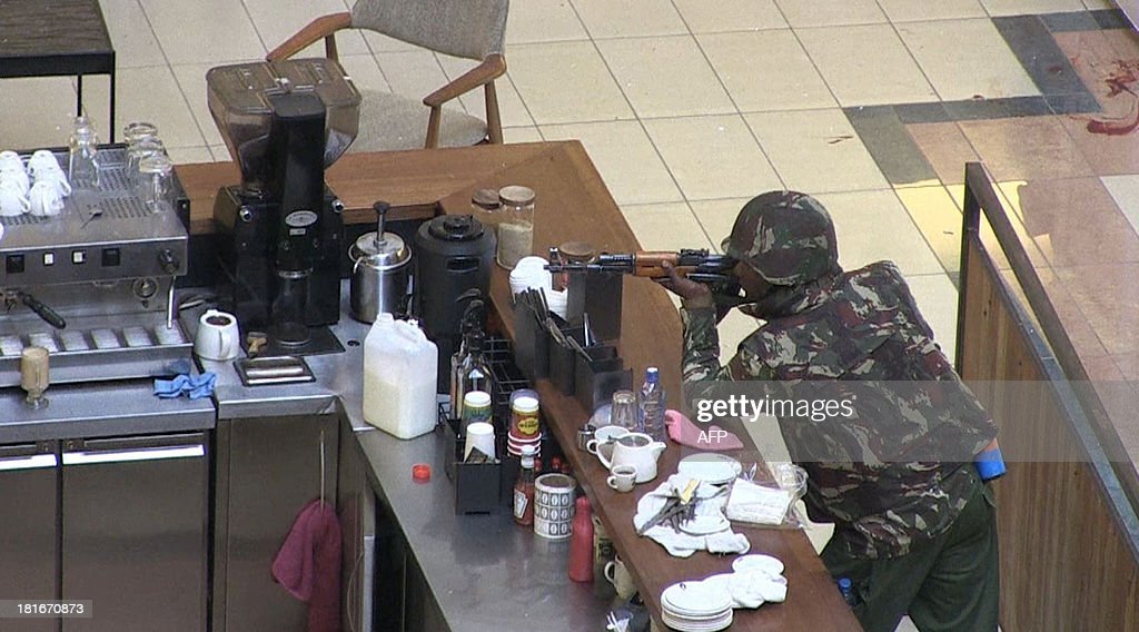An image grab taken from AFP TV shows a Kenyan soldier on September 21 2013 inside the Westgate mall in Nairobi Kenyan troops were locked in a fierce...
