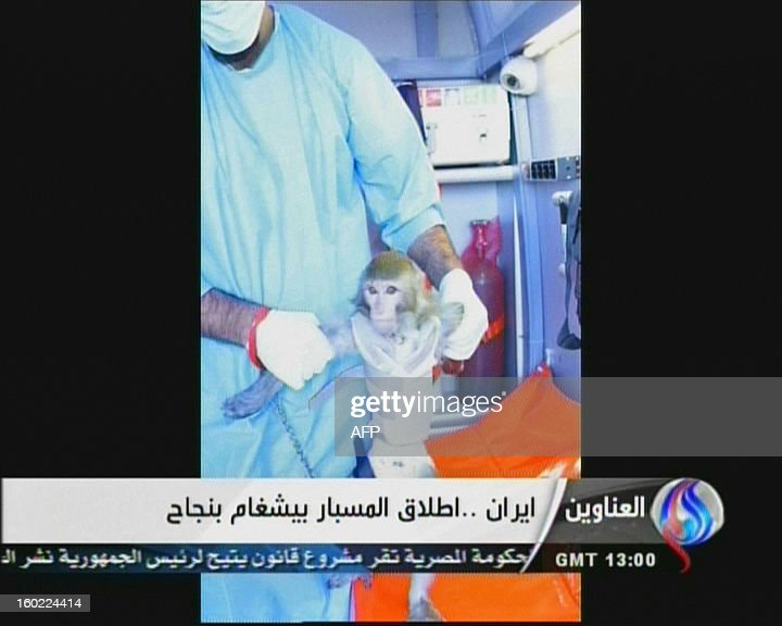 An image grab taken from Iran's Al-Alam TV on January 28, 2013, shows an Iranian scientists at an unknown location holding a live monkey which the Tehran-based Arab-language channel said they sent up into space in a capsule and later retrieved intact. Al-Alam said the monkey was 'alive' after traveling to an altitude of 120 kilometres (75 miles) for a sub-orbital flight as part of 'preparations for sending a man into space,' which is scheduled for 2020. AFP PHOTO/AL-ALAM TV ==RESTRICTED TO EDITORIAL USE - MANDATORY CREDIT 'AFP PHOTO / AL-ALAM TV' - NO