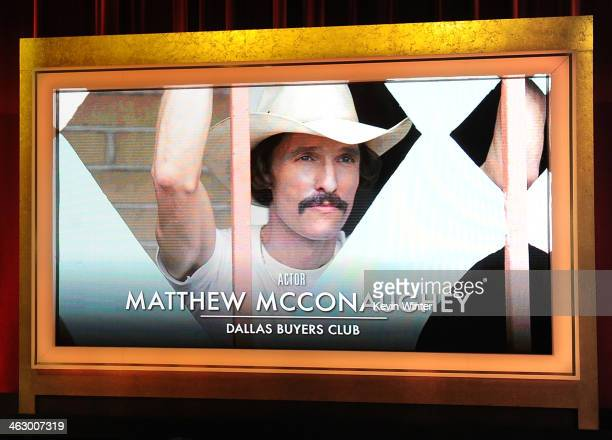 An image is displayed on a big screen onstage of Best Actor nominee Matthew McConaughey for his acting role in the film 'Dallas Buyers Club' at the...