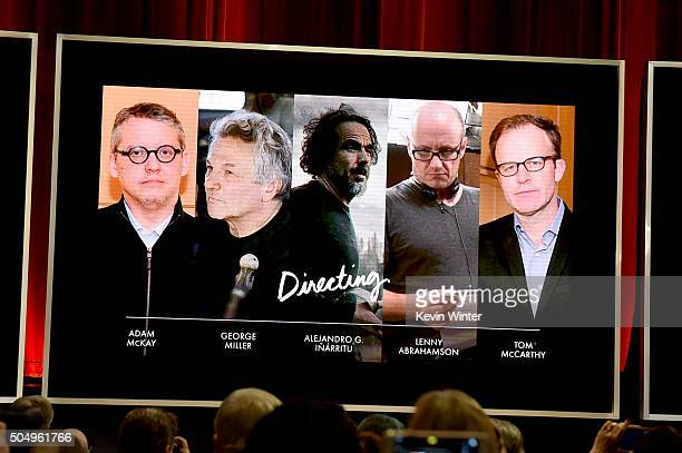 An image is displayed onstage of the nominees for Achievement in Directing during the 88th Oscars Nominations Announcement at the Academy of Motion...