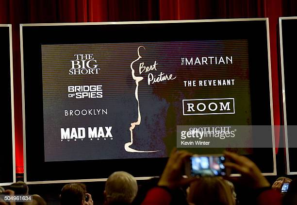 An image is displayed onstage of the nominees for Best Motion Picture of the Year during the 88th Oscars Nominations Announcement at the Academy of...