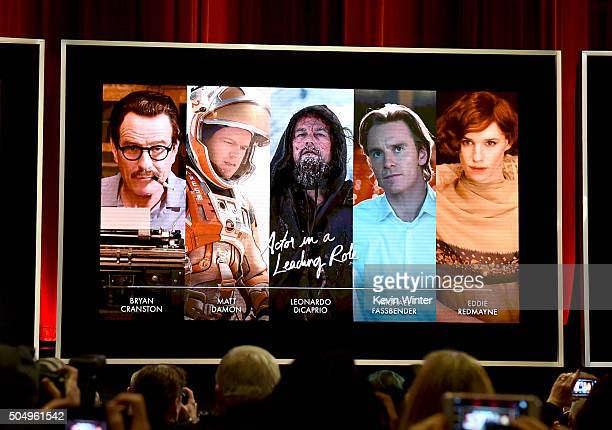 An image is displayed onstage of the nominees for Best Performance by an Actor in a Leading Role during the 88th Oscars Nominations Announcement at...