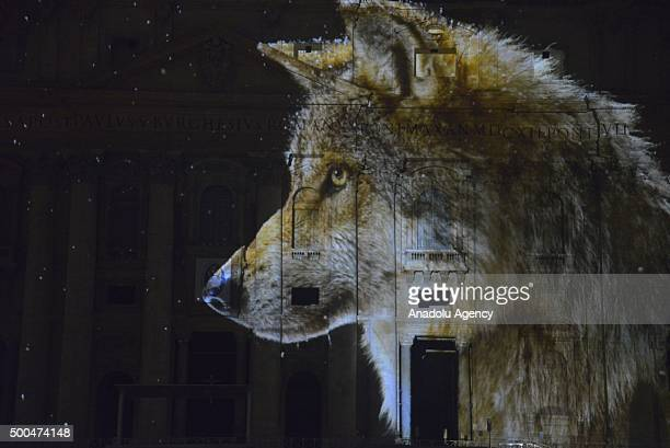An image is seen as it is projected on St Peters Basilica's front side during the show Fiat Lux Illuminating Our Common Home within the Roman...