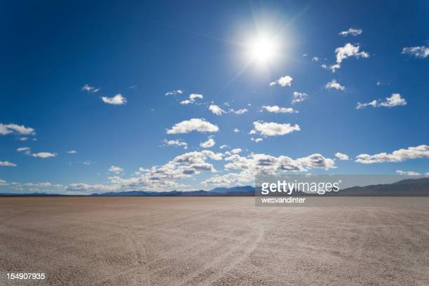 An image of a dry lake bed baking in the sun
