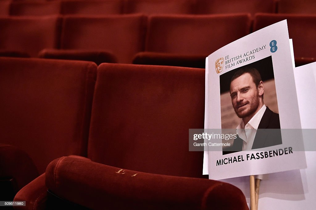 An image of actor Michael Fassbender is placed on a seat during the annual BAFTA heads on sticks photocall at The Royal Opera House on February 11, 2015 in London, England. The seating plan is set ahead of the British Academy Film Awards 2015 which takes place on Sunday February 14, 2015.