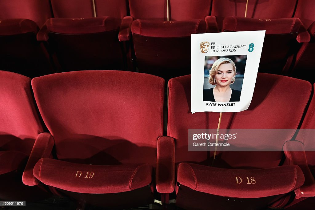 An image of actress Kate Winslet is placed on a seat during the annual BAFTA heads on sticks photocall at The Royal Opera House on February 11, 2015 in London, England. The seating plan is set ahead of the British Academy Film Awards 2015 which takes place on Sunday February 14, 2015.
