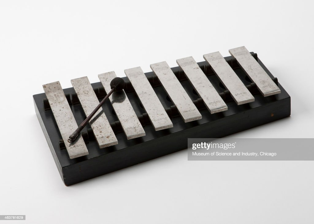 An image of an xylophone with 8 bars by musical instrument maker C G Conn Ltd of Elkhart Indiana and used by the NBC radio affiliate in Chicago...