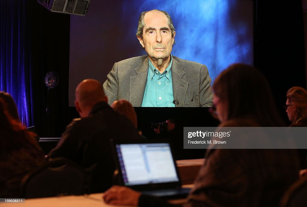 An image of author Philip Roth is projected onscreen as he speaks via satellite video feed to the audience during the PBS panel of 'AMERICAN MASTERS Philip Roth: Unmasked' at the 2013 Winter Television Critics Association Press Tour at the Langham Huntington Hotel & Spa on January 14, 2013 in Pasadena, California.