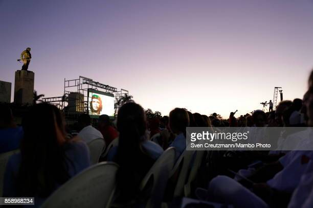 An image of Che Guevara is projected under his statue prior to a political act at the Plaza de la Revolucion to celebrate the 50th anniversary of the...