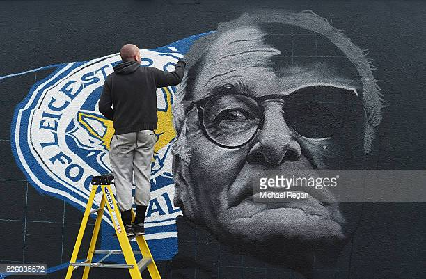 An image of Claudio Ranieri manager of Leicester City is painted on a wall on April 29 2016 in Leicester England