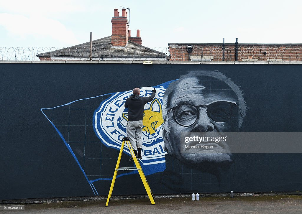 An image of Claudio Ranieri, manager of Leicester City is painted on a wall on April 29, 2016 in Leicester, England.