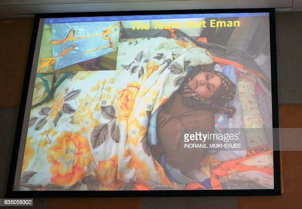 An image of Egyptian national Eman Ahmed Abd El Aty who weighs around 500 kilograms is displayed at a press conference attended by her Indian...