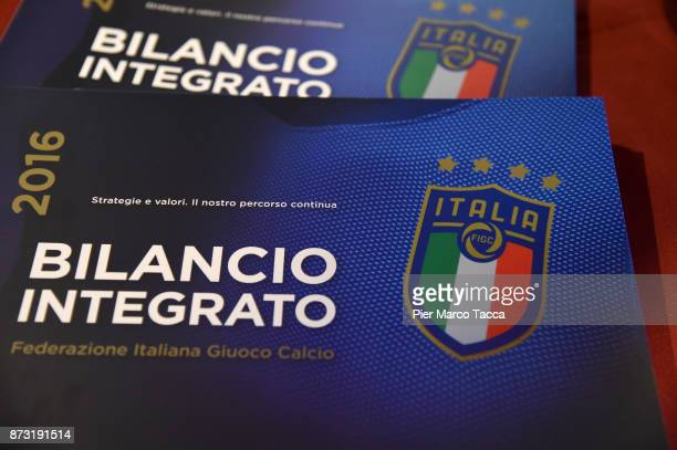 An image of Italian Football Federation SGS Meeting logo is displayed during the Italian Football Federation SGS Meeting at the Ata Hotel on November...