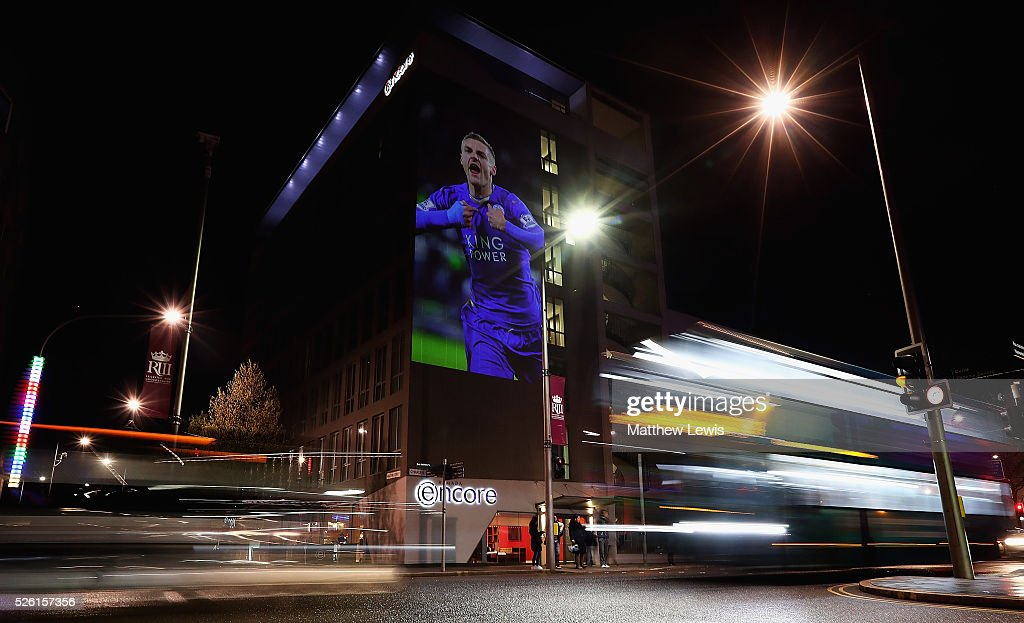An image of Jamie Vardy of Leicester is projected onto the Ramada Encore hotel during a Leicester Backing the Blues Campaign in support of Leicester City on April 29, 2016 in Leicester, England.