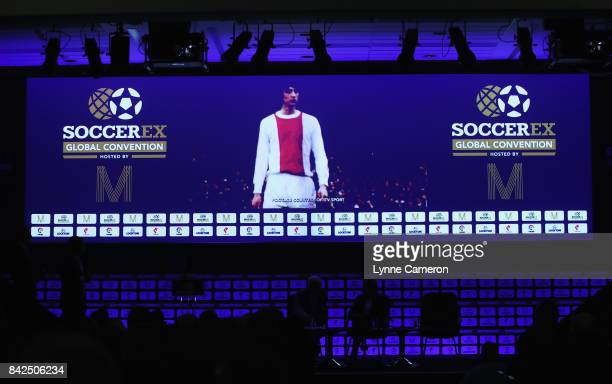 An image of Johan Cruyff of the Netherlands is displayed after he was awarded the Duncan Revie award during day 1 of the Soccerex Global Convention...