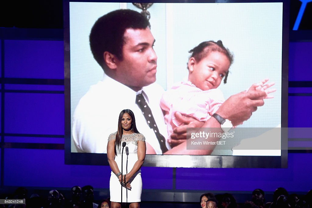 An image of late boxer Muhammad Ali is projected onto a screen as retired boxer <a gi-track='captionPersonalityLinkClicked' href=/galleries/search?phrase=Laila+Ali+-+Boxer&family=editorial&specificpeople=204687 ng-click='$event.stopPropagation()'>Laila Ali</a> speaks onstage during the 2016 BET Awards at the Microsoft Theater on June 26, 2016 in Los Angeles, California.