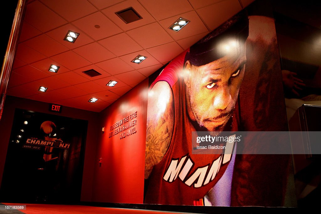 An image of <a gi-track='captionPersonalityLinkClicked' href=/galleries/search?phrase=LeBron+James&family=editorial&specificpeople=201474 ng-click='$event.stopPropagation()'>LeBron James</a> #6 of the Miami Heat is seen on a wall leading to the team's locker room following a game against the San Antonio Spurs on November 29, 2012 at American Airlines Arena in Miami, Florida.