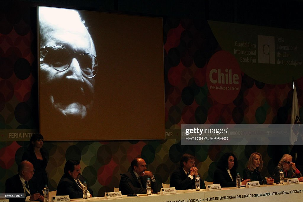 An image of Mexican writer Carlos Fuentes is shown on a huge screen during the opening ceremony of the International Book Fair of Guadalajara, on November 24, 2012, in Guadalajara, Jalisco state. AFP PHOTO/Hector Guerrero