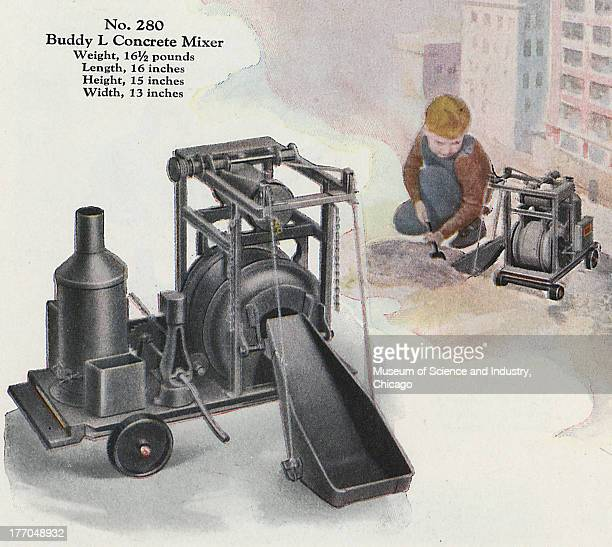 An image of the Buddy 'L' Concrete Mixer from 'The Story of Buddy 'L' book published by the Buddy 'L' manufacturing company 1929