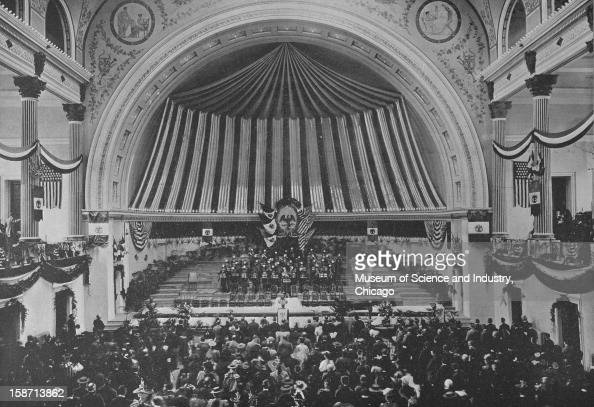 An image of the concert given in Music Hall by Mexico's Cavalry Band on Mexico Day at the World's Columbian Exposition in Chicago Illinois 1893 This...