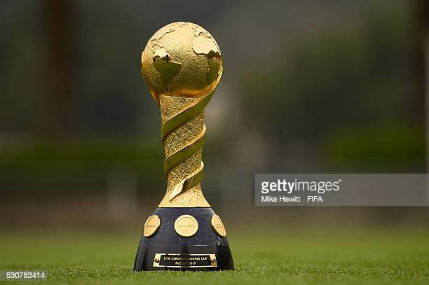 An image of the Confederations Cup Trophy ahead of a FIFA Confederations Cup 2017 promotional event at the High Performance Centre ahead of the 66th...