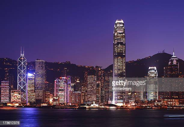 An image of the Hong Kong skyline at night