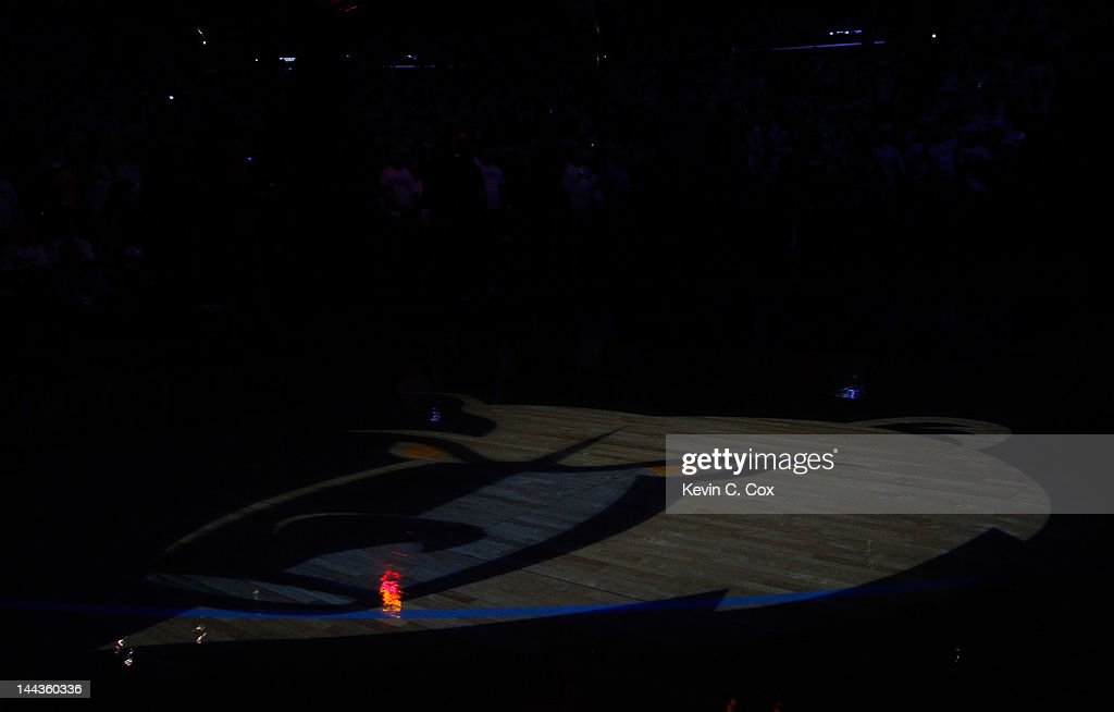An image of the Memphis Grizzlies mascot is shown on the floor proir to Game Seven of the Western Conference Quarterfinals in the 2012 NBA Playoffs against the Los Angeles Clippers at FedExForum on May 13, 2012 in Memphis, Tennessee.
