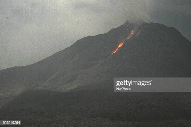 An image stored on March 7 2015 shows lava flow that blows from the crater of Mount Sinabung hole after this latest eruption in Karo Sumatra...
