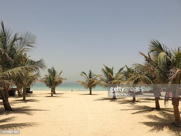 An image taken on May 11 2015 shows palm trees decorating the beach of Mina alSalam hotel and touristic resort in Dubai United Arab Emirates AFP...