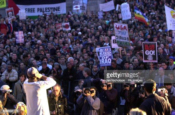 An Imam breaks the Ramadan fast for muslims in Trafalgar Square at the start of a demonstration against the state visit by US President Bush The...